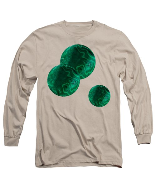 Long Sleeve T-Shirt featuring the mixed media Malachite Circles On Pink by Rachel Hannah