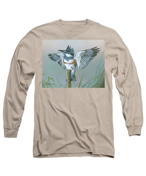 Male Belted Kingfisher Long Sleeve T-Shirt