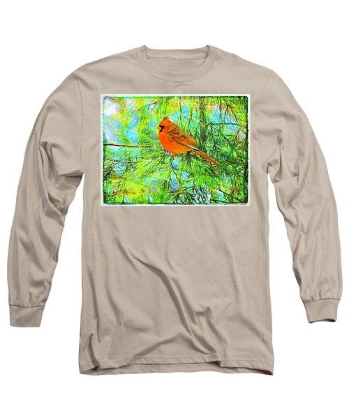 Male Cardinal In Juniper Tree Long Sleeve T-Shirt