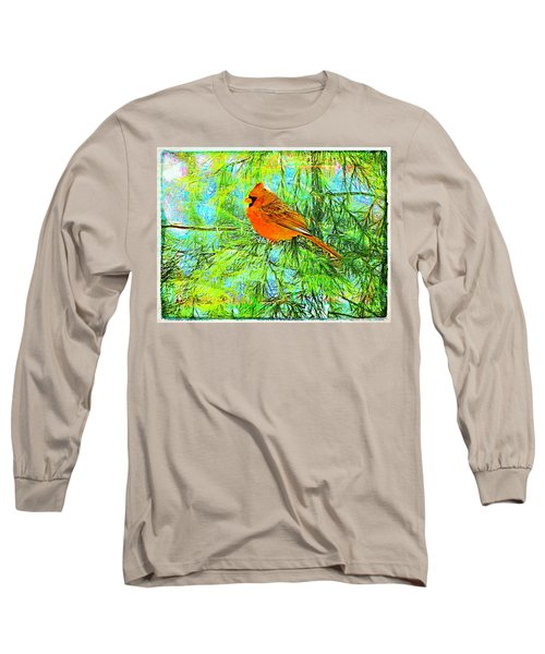 Male Cardinal In Juniper Tree Long Sleeve T-Shirt