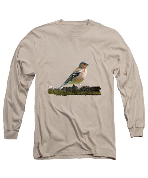 Male Chaffinch, Transparent Background Long Sleeve T-Shirt by Paul Gulliver