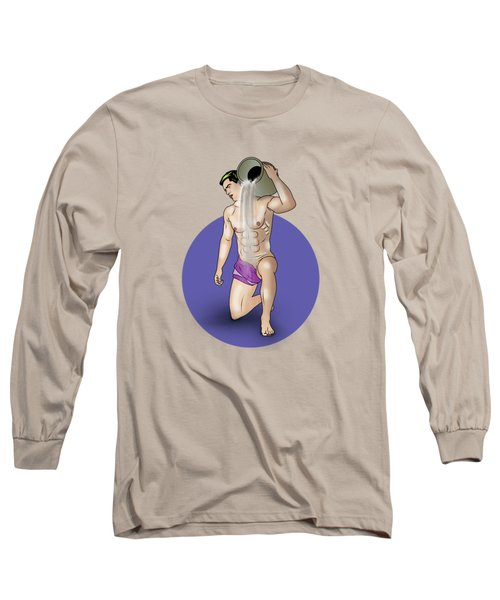 Male Nude Art Comics  Aquarius Long Sleeve T-Shirt by Mark Ashkenazi