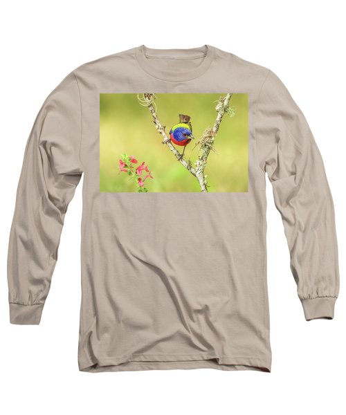 Male Painted Bunting #2 Long Sleeve T-Shirt by Tom and Pat Cory