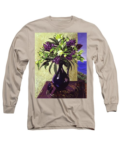 Malibu Hyacinths In Deep Blue Blue  Ceramic Long Sleeve T-Shirt