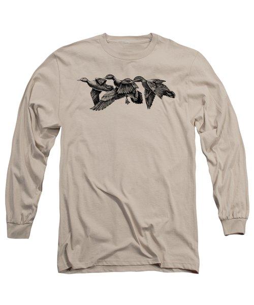 Mallard Ducks In Flight Bw Long Sleeve T-Shirt