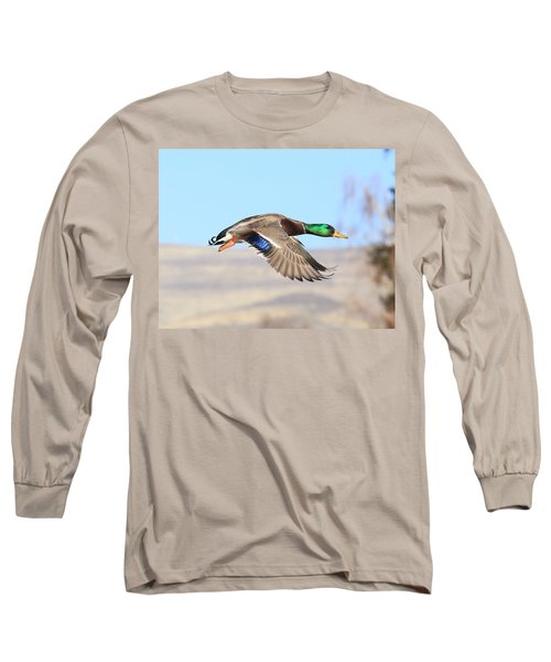 Mallard Flying Over Long Sleeve T-Shirt