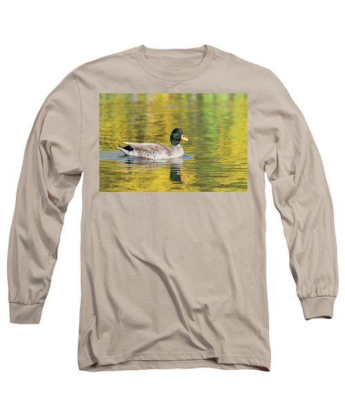 Long Sleeve T-Shirt featuring the photograph Mallard In Yellow by Karen Van Der Zijden