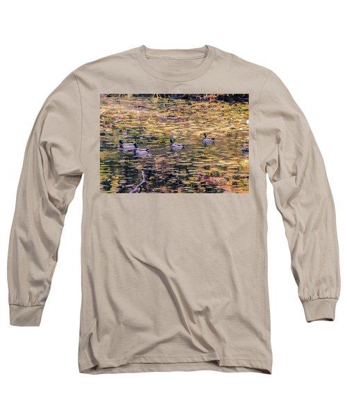Mallards On Autumn Pond Long Sleeve T-Shirt