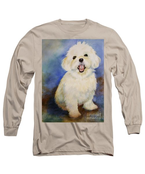 Long Sleeve T-Shirt featuring the painting Maltese Named Ben by Marilyn Jacobson