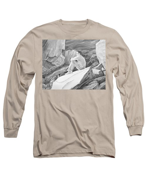 Long Sleeve T-Shirt featuring the mixed media Man On The Rocks II by Elizabeth Lock