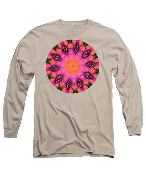 Mandala Salmon Burst - Prints With Salmon Color Background Long Sleeve T-Shirt by Hao Aiken