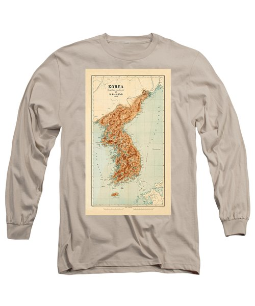 Map Of Korea 1903 Long Sleeve T-Shirt by Andrew Fare
