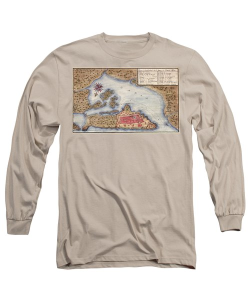 Map Of San Juan 1770 Long Sleeve T-Shirt by Andrew Fare