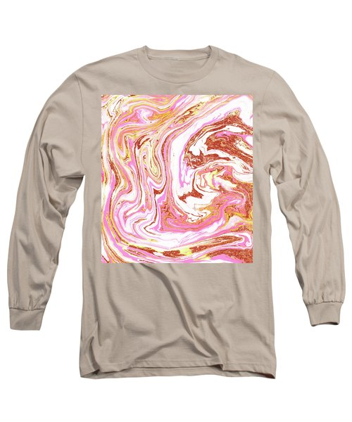 Marble And Rose Gold Dust Long Sleeve T-Shirt