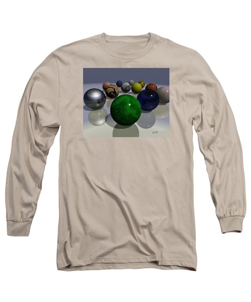 Long Sleeve T-Shirt featuring the digital art Marbles by Walter Chamberlain