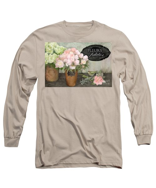 Long Sleeve T-Shirt featuring the painting Marche Aux Fleurs 2 - Peonies N Hydrangeas W Bird by Audrey Jeanne Roberts