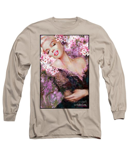 Marilyn Cherry Blossoms Pink Long Sleeve T-Shirt