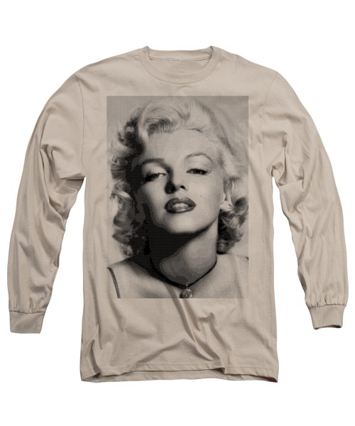 Marilyn Monroe - Bw Hexagons Long Sleeve T-Shirt by Samuel Majcen