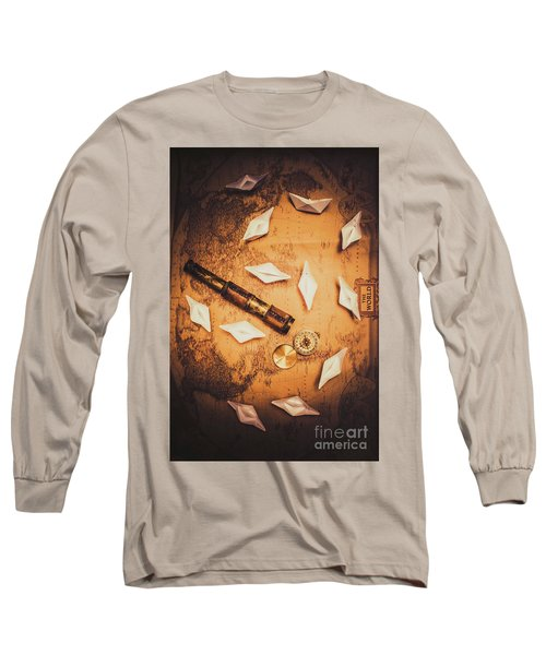 Maritime Origami Ships On Antique Map Long Sleeve T-Shirt