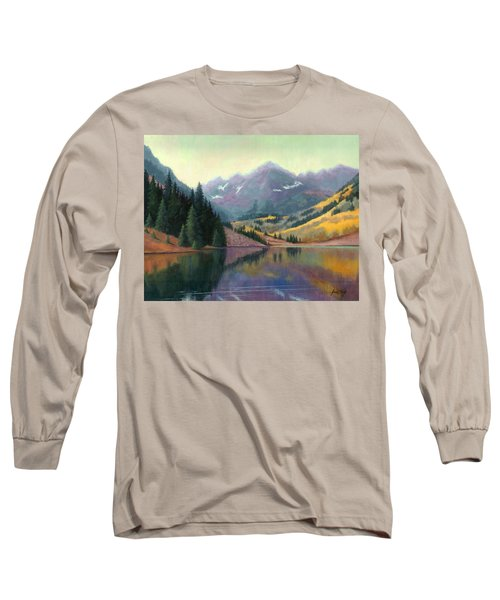 Long Sleeve T-Shirt featuring the painting Maroon Bells In October by Janet King