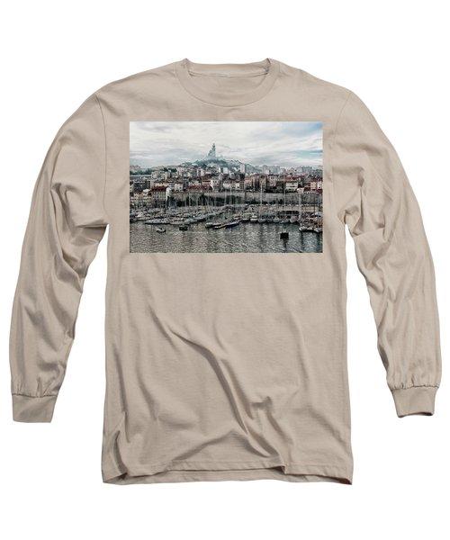 Marseilles France Harbor Long Sleeve T-Shirt by Alan Toepfer