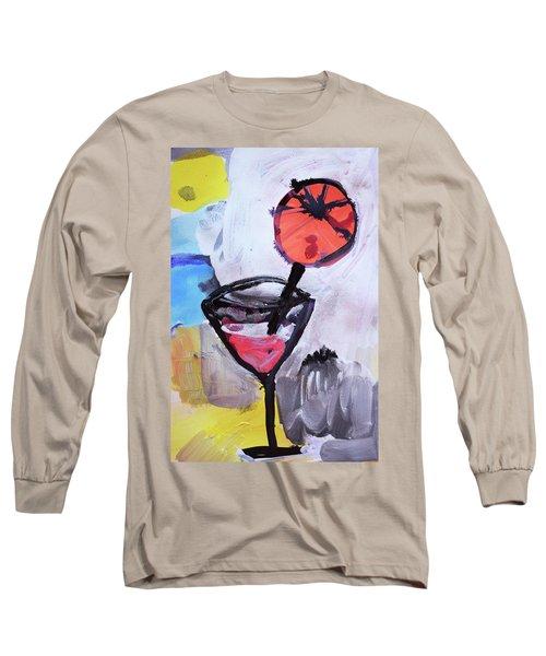 Martini And Orange Long Sleeve T-Shirt by Amara Dacer