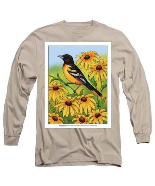 Maryland State Bird Oriole And Daisy Flower Long Sleeve T-Shirt