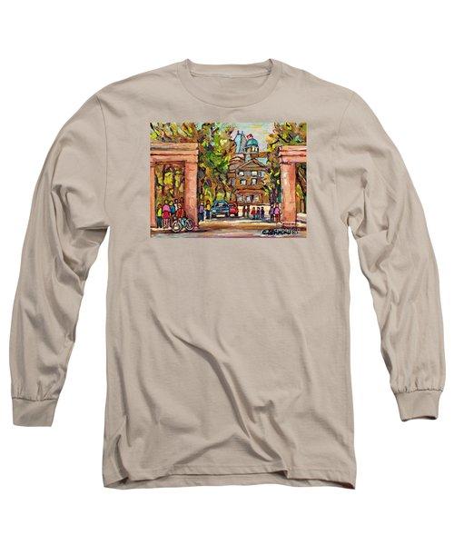 Mcgill Gates  Entrance Of Mcgill University Montreal Quebec Original Oil Painting Carole Spandau Long Sleeve T-Shirt
