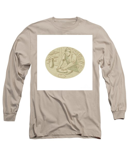 Medieval Baker Kneading Bread Dough Oval Drawing Long Sleeve T-Shirt