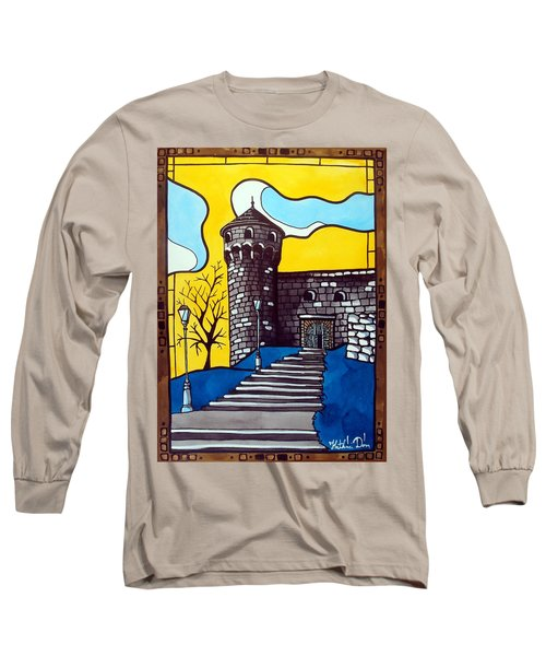 Long Sleeve T-Shirt featuring the painting Medieval Bastion -  Mace Tower Of Buda Castle Hungary By Dora Hathazi Mendes by Dora Hathazi Mendes