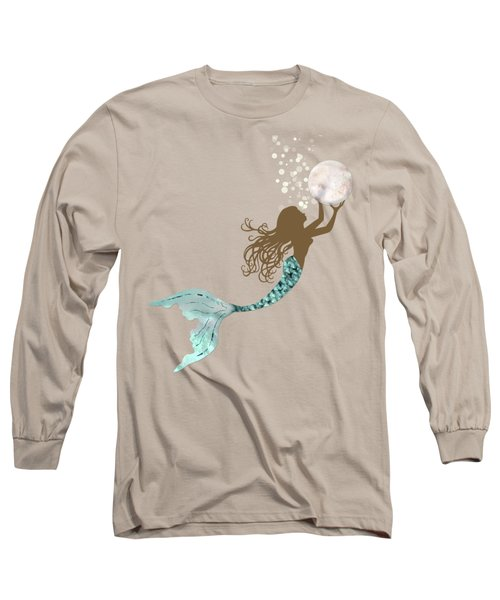 Mermaid Of Color Gathering Pearls Brown Siren Holds A Huge Pearl Long Sleeve T-Shirt