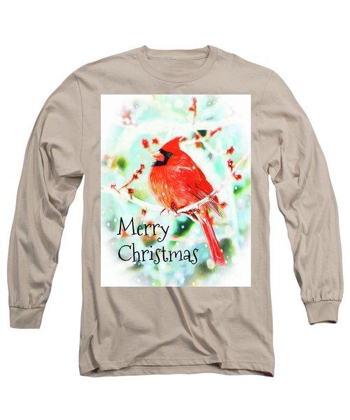 Merry Christmas Cardinal Long Sleeve T-Shirt