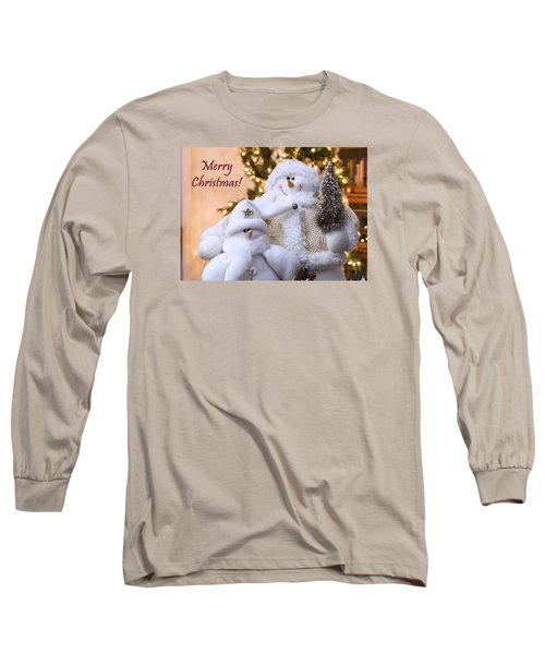 Long Sleeve T-Shirt featuring the photograph Merry Christmas Snowmen by Betty Denise