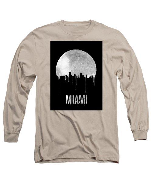 Miami Skyline Black Long Sleeve T-Shirt by Naxart Studio