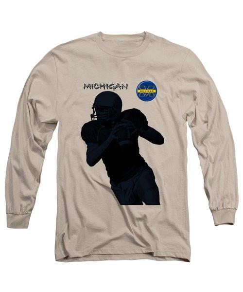 Long Sleeve T-Shirt featuring the digital art Michigan Football  by David Dehner