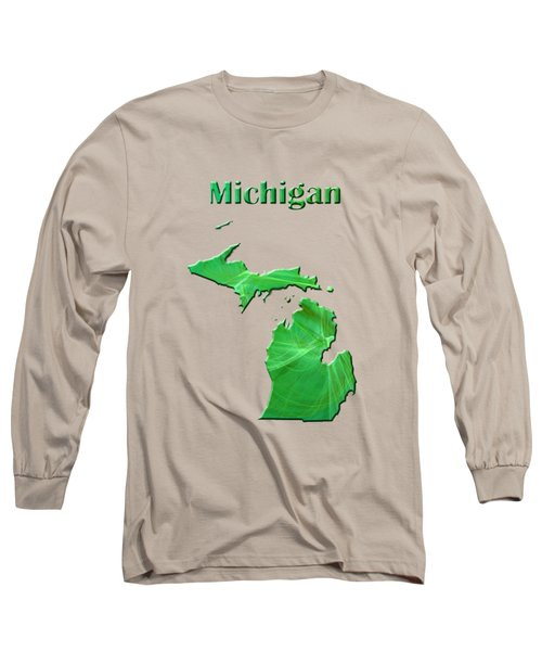 Michigan Map Long Sleeve T-Shirt by Roger Wedegis