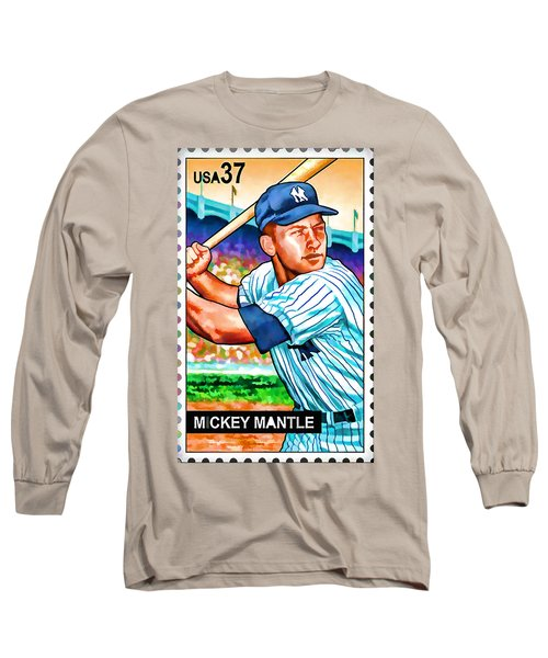 Mickey Mantle Long Sleeve T-Shirt by Lanjee Chee