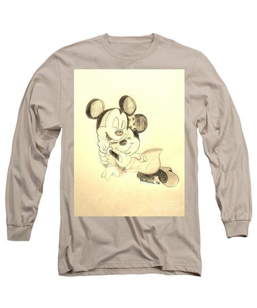 Mickey Minnie Cuddle Buddies - Sepia Long Sleeve T-Shirt by Scott D Van Osdol