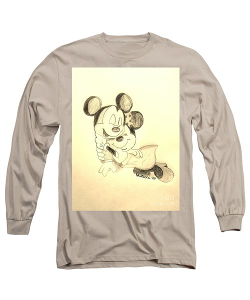 Mickey Minnie Cuddle Buddies - Sepia Long Sleeve T-Shirt