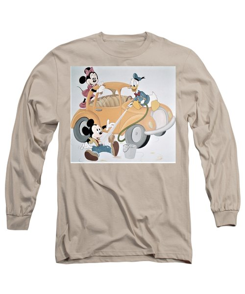 Micky,minnie And Donald On Car Long Sleeve T-Shirt