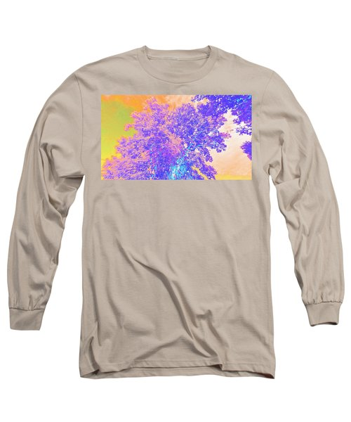 Long Sleeve T-Shirt featuring the mixed media Mighty Oak Abstract by Mike Breau
