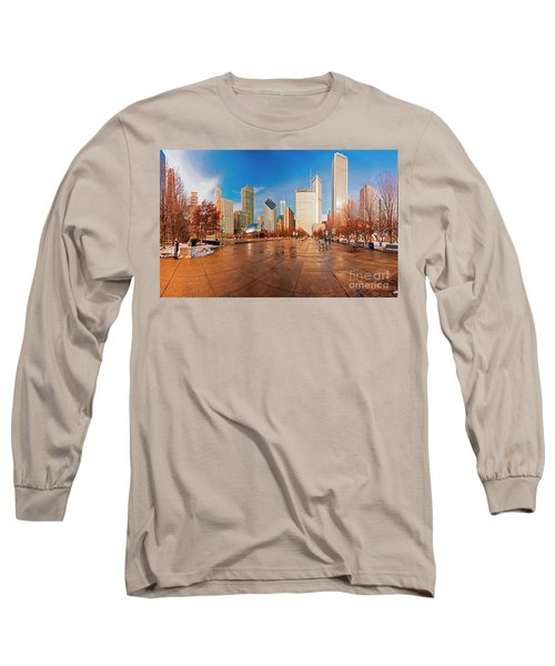 Millennium Park Skyline And The Bean  Long Sleeve T-Shirt