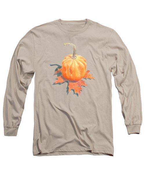 Miniature Pumpkin On Oak Leaf Still Life Long Sleeve T-Shirt