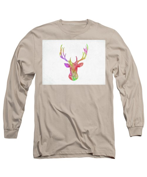 Minimal Abstract Deer Head Watercolor Long Sleeve T-Shirt