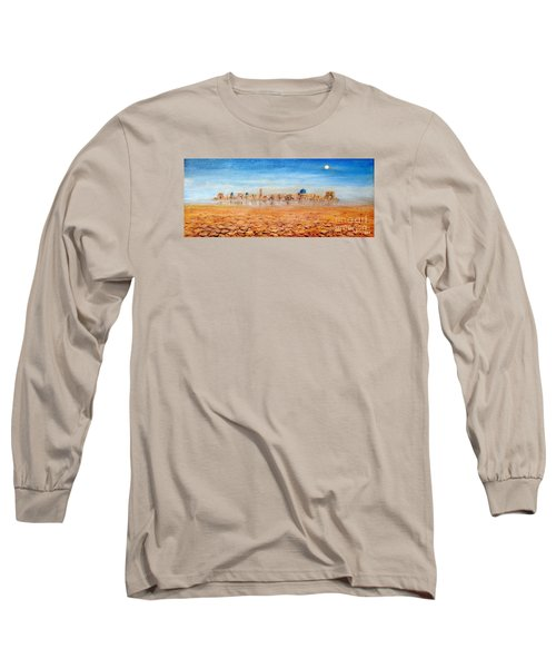 Long Sleeve T-Shirt featuring the painting Mirage City by Arturas Slapsys