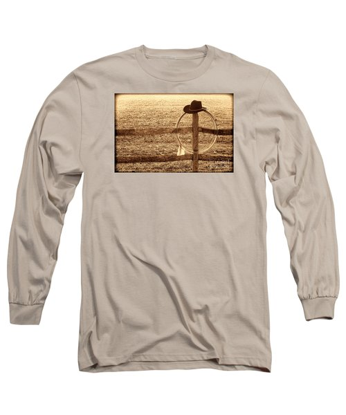 Misty Morning At The Ranch Long Sleeve T-Shirt by American West Legend By Olivier Le Queinec