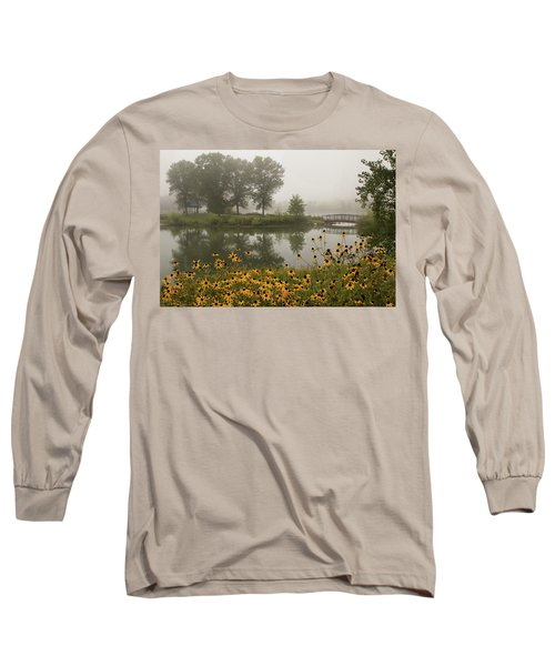 Misty Pond Bridge Reflection #3 Long Sleeve T-Shirt