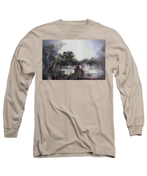 Long Sleeve T-Shirt featuring the painting Misty Pond by Geni Gorani