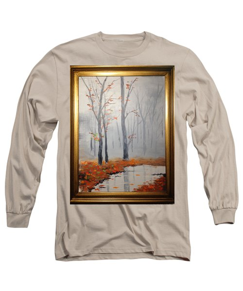 Misty Stream In Autumn Long Sleeve T-Shirt
