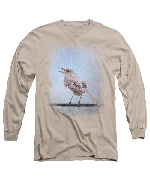Mockingbird In The Snow Long Sleeve T-Shirt by Jai Johnson